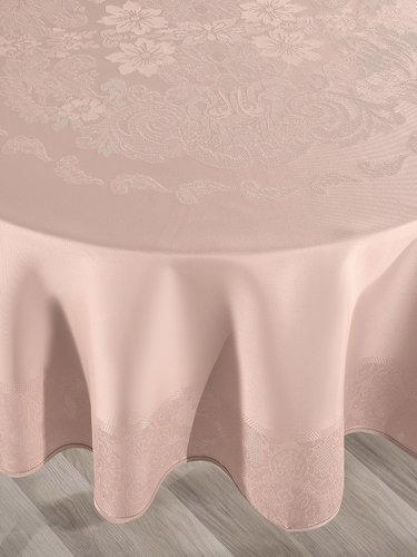 Скатерть круглая Karna DORE водонепроницаемый жаккард пудра D=160, фото, фотография