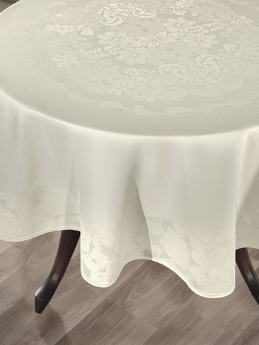 Скатерть круглая Karna DORE водонепроницаемый жаккард кремовый D=160, фото, фотография