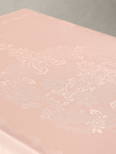 Скатерть прямоугольная Karna DORE водонепроницаемый жаккард пудра 160х300, фото, фотография