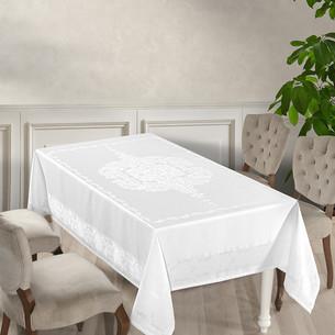 Скатерть прямоугольная Karna DORE водонепроницаемый жаккард белый 160х300
