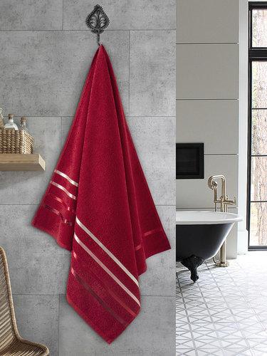 Полотенце для ванной Karna CLASSIC хлопковая махра красный 70х140, фото, фотография