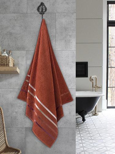 Полотенце для ванной Karna CLASSIC хлопковая махра кирпичный 70х140, фото, фотография