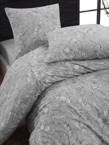 Постельное белье Karna ROSINA хлопковая бязь серый евро (нав. 70х70), фото, фотография