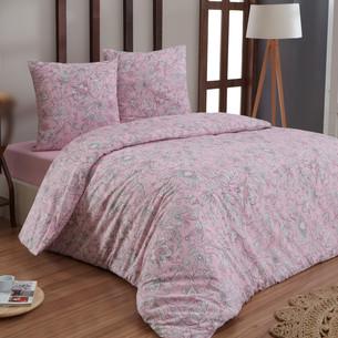 Постельное белье Karna ROSINA хлопковая бязь розовый семейный (нав. 70х70)