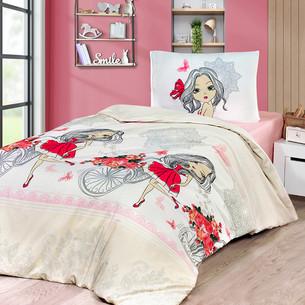Постельное белье Karna подростковое KUKI хлопковая бязь 1,5 спальный (нав. 50х70)