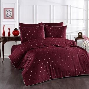 Постельное белье Grazie Home LOVEN'S хлопковый сатин делюкс бордовый+кремовый евро