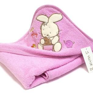 Детское полотенце-уголок La Villa TAVSAN DESEN хлопковая махра розовый 90х90