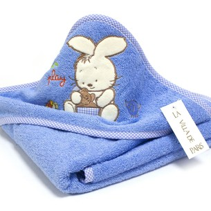Детское полотенце-уголок La Villa TAVSAN DESEN хлопковая махра голубой 90х90