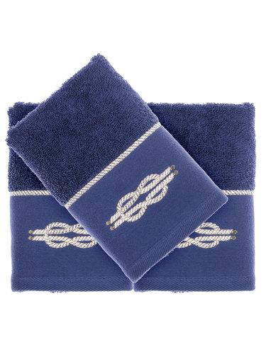 Подарочный набор полотенец-салфеток 30х50(3) Tivolyo Home ANCHOR хлопковая махра синий, фото, фотография