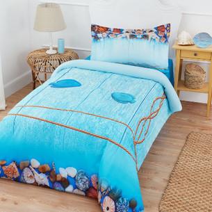 Комплект подросткового постельного белья Ozdilek MILOS MAVI хлопковый ранфорс 1,5 спальный