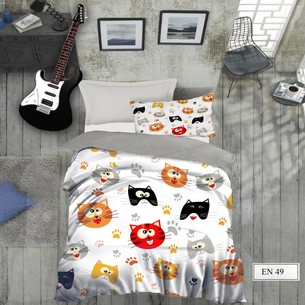 Комплект подросткового постельного белья EFOR GENC CAT хлопковый ранфорс 1,5 спальный
