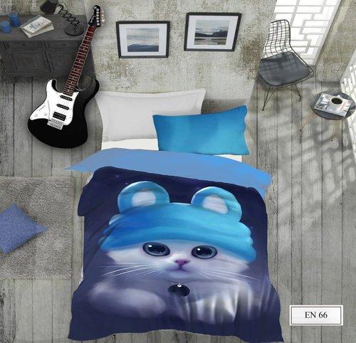 Комплект подросткового постельного белья EFOR GENC MAVIS хлопковый ранфорс 1,5 спальный, фото, фотография
