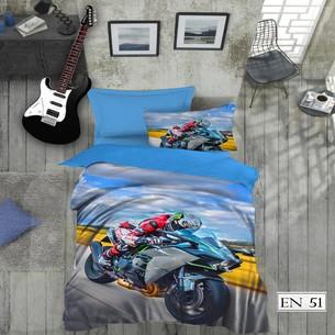Комплект подросткового постельного белья EFOR GENC MOTOR хлопковый ранфорс 1,5 спальный