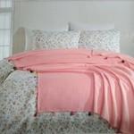 Постельное белье с покрывалом пике Ecosse FIORI хлопковый ранфорс розовый евро, фото, фотография