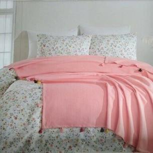 Постельное белье с покрывалом пике Ecosse FIORI хлопковый ранфорс розовый евро