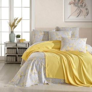 Постельное белье с покрывалом пике Ecosse SPRING хлопковый ранфорс желтый евро