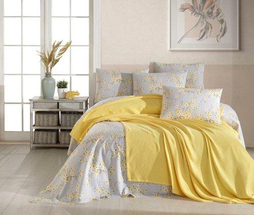 Постельное белье с покрывалом пике Ecosse SPRING хлопковый ранфорс желтый евро, фото, фотография
