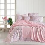 Постельное белье с покрывалом пике Ecosse SPRING хлопковый ранфорс розовый евро, фото, фотография
