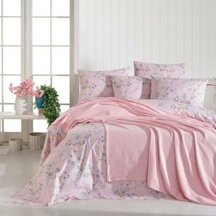 Постельное белье с покрывалом пике Ecosse SPRING хлопковый ранфорс розовый евро