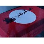 Скатерть прямоугольная Efor новогодняя красная с оленем жаккард 160х220, фото, фотография