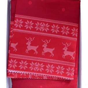 Скатерть прямоугольная Efor новогодняя красная с оленем жаккард 160х220