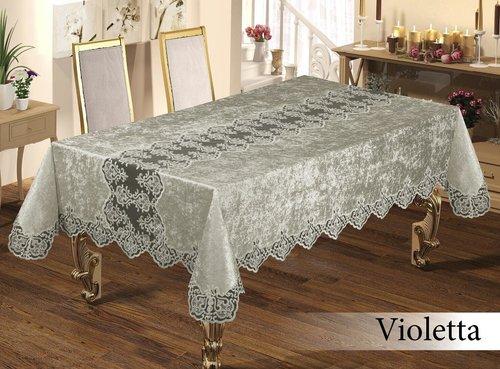 Скатерть прямоугольная Efor VIOLETTA жаккард серебрянный 160х220, фото, фотография