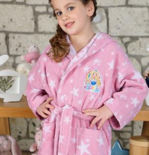 Халат детский для девочки с полотенцем Ozdilek BARBIE STAR хлопковая махра розовый 5-6 лет