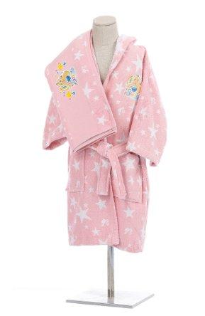 Халат детский для девочки с полотенцем Ozdilek BARBIE STAR хлопковая махра розовый 9-10 лет, фото, фотография