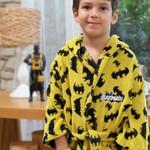 Халат детский для мальчика с полотенцем Ozdilek BATMAN DARK хлопковая махра желтый 7-8 лет, фото, фотография