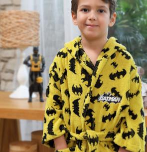 Халат детский для мальчика с полотенцем Ozdilek BATMAN DARK хлопковая махра желтый 7-8 лет
