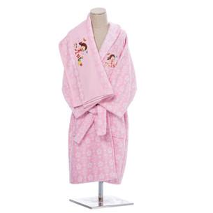 Халат детский для девочки с полотенцем Ozdilek NILOYA HEART хлопковая махра розовый 5-6 лет