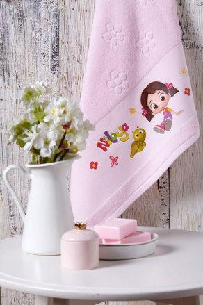 Халат детский для девочки с полотенцем Ozdilek NILOYA HEART хлопковая махра розовый 5-6 лет, фото, фотография