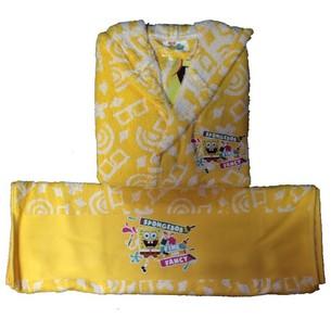 Халат детский для мальчика с полотенцем Ozdilek SPONGE BOB хлопковая махра желтый 5-6 лет
