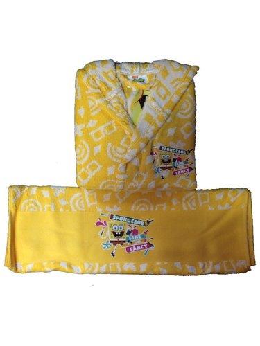 Халат детский для мальчика с полотенцем Ozdilek SPONGE BOB хлопковая махра желтый 9-10 лет, фото, фотография