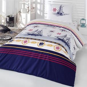 Комплект подросткового постельного белья Kristal Home YELKENLİ хлопковый ранфорс 1,5 спальный