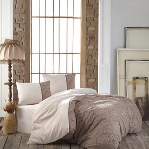 Постельное белье Kristal Home ZARA хлопковый ранфорс коричневый евро