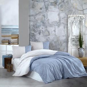 Постельное белье Kristal Home ZARA хлопковый ранфорс синий евро