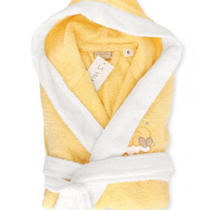 Детский халат La Villa СПЯЩАЯ ЛУНА хлопковая махра жёлтый 3-4 года