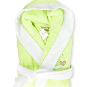 Детский халат La Villa СПЯЩАЯ ЛУНА хлопковая махра зелёный 5-6 года