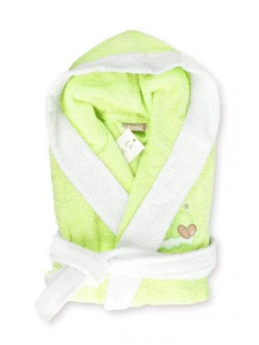 Детский халат La Villa СПЯЩАЯ ЛУНА хлопковая махра зелёный 3-4 года, фото, фотография