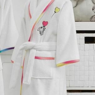 Халат детский для девочки Soft Cotton RAINBOW хлопковая махра бело-розовый 5-6 лет