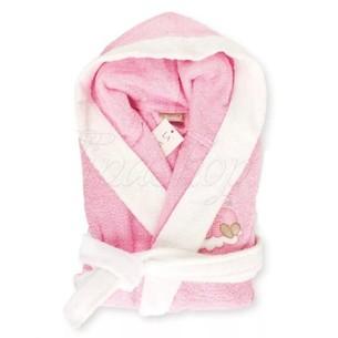 Детский халат La Villa СПЯЩАЯ ЛУНА хлопковая махра розовый 3-4 года