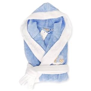 Детский халат La Villa СПЯЩАЯ ЛУНА хлопковая махра голубой 3-4 года