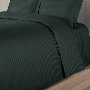 Постельное белье Karna LINE хлопковый сатин темно-зеленый евро