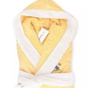 Детский халат La Villa БАБОЧКА хлопковая махра жёлтый 13-14 лет