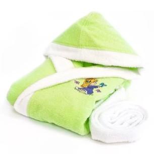 Детский халат La Villa БАБОЧКА хлопковая махра зелёный 9-10 лет