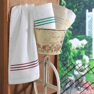 Подарочный набор полотенец-салфеток 30х50(3) Soft cotton STRIPE хлопковая махра белый