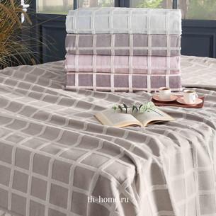 Махровая простынь-покрывало для укрывания Tivolyo Home OSCAR TWİST хлопок фиолетовый 220х240