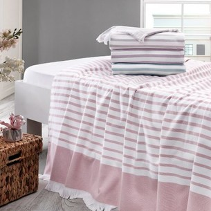 Махровая простынь-покрывало для укрывания Tivolyo Home MASON хлопок фиолетовый 220х240