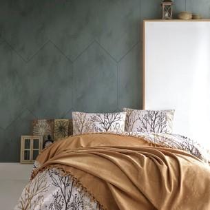 Летнее постельное белье с покрывалом-одеялом пике Saheser DALILA хлопковый ранфорс хардал евро